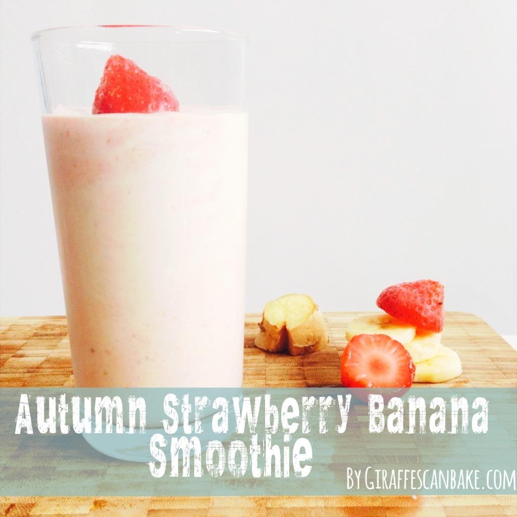 autumn strawberry banana smoothie