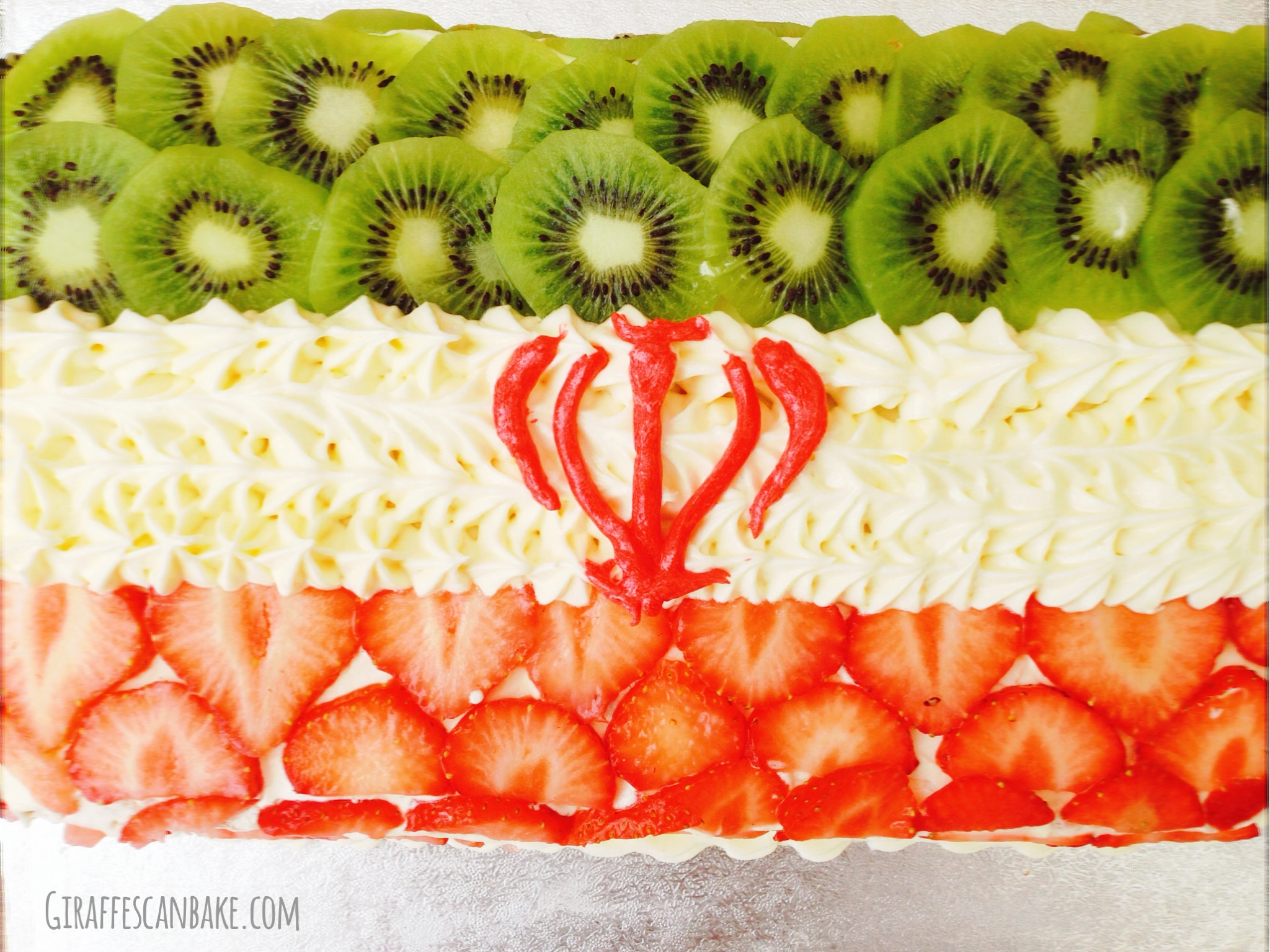 Iran Flag Vanilla Cake with Strawberries and Kiwii
