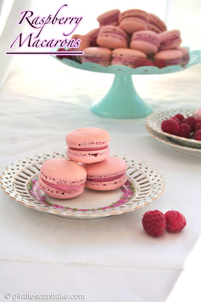 Raspberry Macarons by Giraffes Can Bake