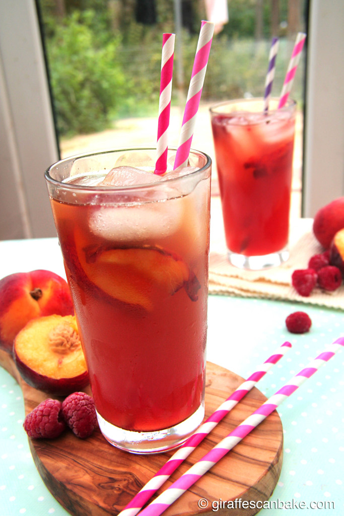 Peach Raspberry Iced Tea by Giraffes Can Bake - refreshing iced tea made with green tea and sweetened with homemade peach and raspberry syrup, the perfect summer drink