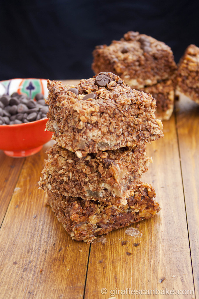 Coconut, Ginger and Chocolate Oat Bars by Giraffes Can Bake - chewy oat bars, packed full of flavour. So easy to make, they're perfect lunch box snack!